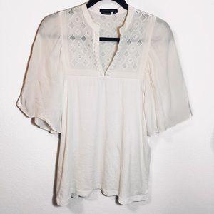 BCBGMaxAzria Boho Embroidered Peasant Silk Top